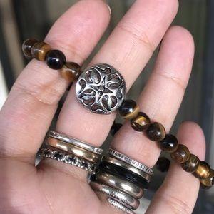 🔴SALE ! Genuine tiger eye silver coin bracelet